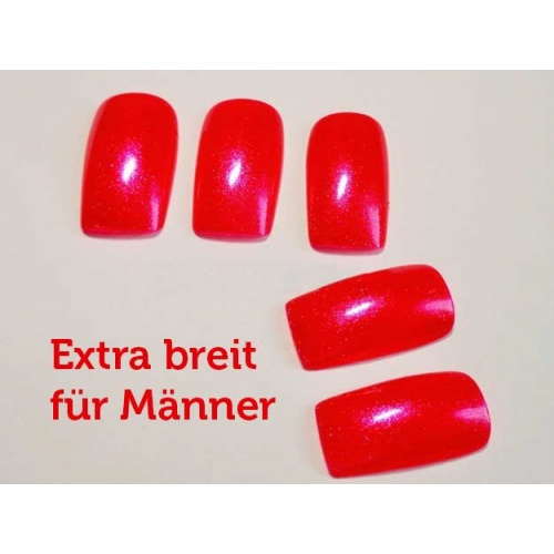 Artificial fingernails in red, extra wide, Accessories & Make-up
