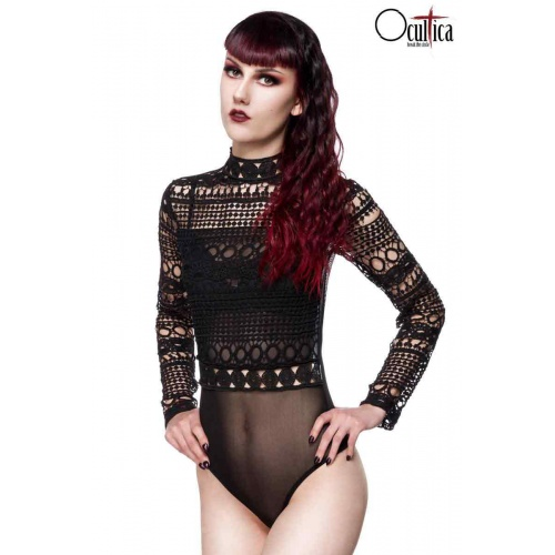 Gothic bodysuit in lace in black, clothing