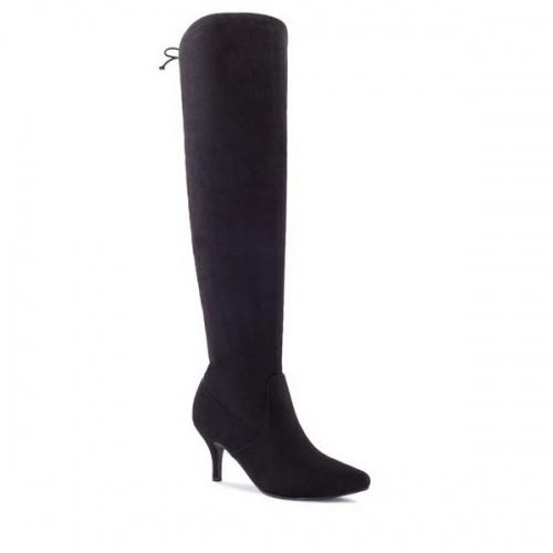 Moderner Stiefel aus schwarzem Velour, Schuhe