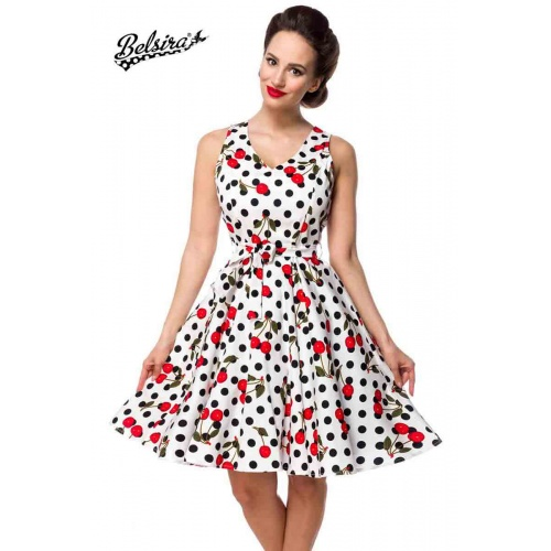 Retro dress with flared plate skirt, clothing