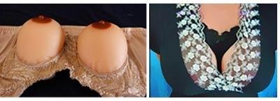 Silicone breasts in bra black, white, red, beige