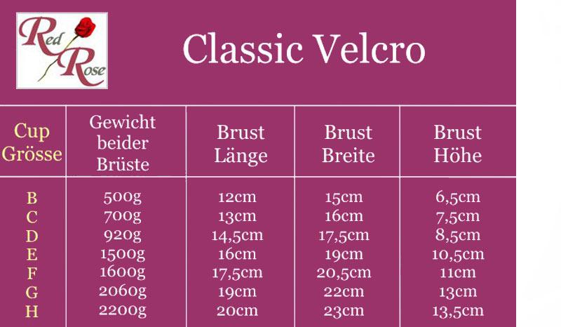 """Größentabelle, Gewichtstabelle der Silikonbrüste """"Classic Velcro""""."""